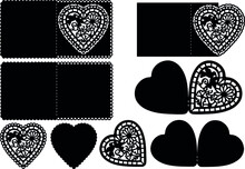 Floral Heart  Valentine's Day Card Templates For Paper Cutting On Silhouette Cameo, Cricut And Other Cutting Machines. These Patterns Are Suitable For Laser Cutting.