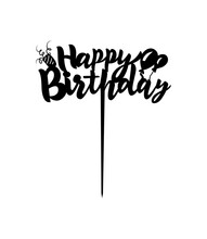 Cake Topper Happy Birthday Hand Calligraphy Lettering Design With Balloon. Ready To Cut With A Laser Cutting Machine. Vector.