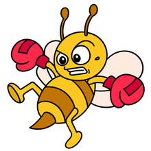 Emoticon Bee Wearing Boxing Gloves Practicing Kicking While Flying, Doodle Icon Image Kawaii