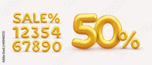 Fotografía Sale off discount promotion set made of realistic numbers 3d gold helium balloons