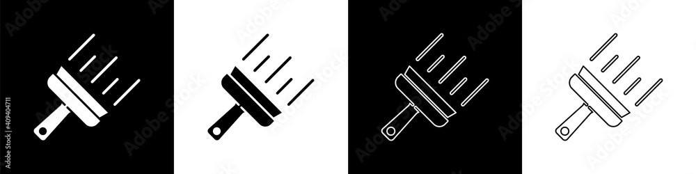 Fototapeta Set Cleaning service with of rubber cleaner for windows icon isolated on black and white background. Squeegee, scraper, wiper. Vector.