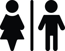 Symbol Of Rest Room For Women And Men Vector Icon