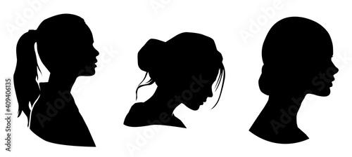 female profile silhouette. beauty woman head silhouette. - fototapety na wymiar