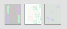 Abstract Asian Vector Banners Set. Hand Drawn Trendy Background.