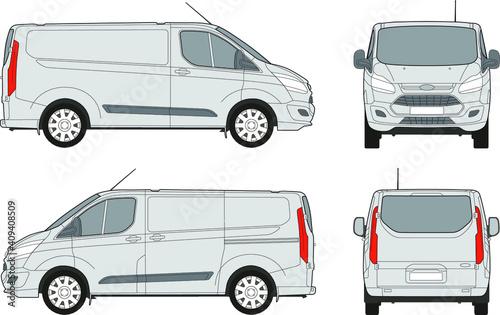 Fotografie, Obraz Vector template of cargo commercial van