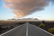 """A road in the """"Timanfaya National Park"""", Canary islands, Spain in the morning."""