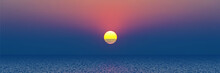 The Sun Sets In The Sea, Panoramic View Of The Sunset Sky