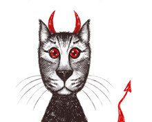 Portrait Of The Cat Of Satan. Cat With Horns And A Demon's Tail, With Red Eyes
