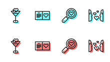 Set Line Search Heart And Love, Martini Glass, Valentines Day Party Flyer And Love At First Sight Icon. Vector.