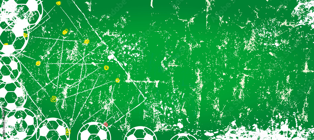 Fototapeta  super grunge soccer or football mock up background,soccer balls and playing field, vector illustration, free copy space