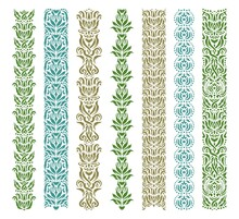 Set Of Decorative Seamless Borders With Floral Patterns. Repeating Pattern Of Leaves, Flowers, Dots. Luxurious Vintage Style. Natural Theme. Blue, Green, Gold Elements Isolated On White Background.