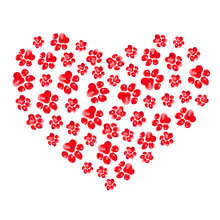 Heart Silhouette With Red Paw Prints On Transparent Background. Hand Drawn Vector Illustration.