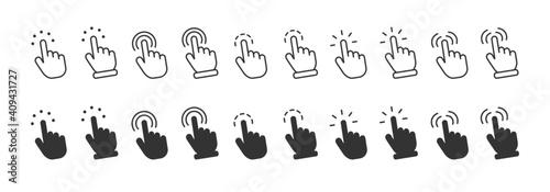 Fototapeta Click finger icon set