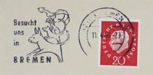 Briefmarke Stamp Gestempelt Used Frankiert Cancel Post Letter Mail Brief Bremen Bremer Stadtmusikanten Vintage Retro Alt Old Slogan Werbung Besucht Esel Hund Katze Hahn Gesicht Profil Rot Red Kopf