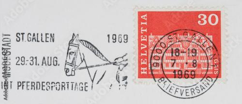 Fotografie, Obraz briefmarke stamp gestempelt used frankiert cancel post letter mail brief pferd v
