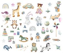 Watercolor Handpainted Cute Baby Toys Elements For Kids (Airplane, Ball, Doll, Giraffe, Hare, Pyramid, Rocking Horse, Robot, Teddy Bear, Train, Rainbow, Wooden Blocks)
