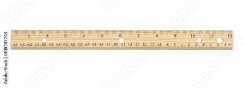 Fotografie, Obraz Retro wood 12-inch ruler isolated on white