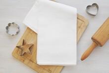 Blank White Waffle Kitchen Towel Mockup, Flat Lay With Kitchen Cloth, Baking Utensils.