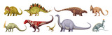 Fototapeta Dinusie - Dinosaurs Cartoon Set