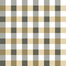 Gingham Pattern Design In Grey, Beige, White. Seamless Textured Check Plaid For Dress, Blanket, Tablecloth, Gift Wrapping, Or Other Modern Spring Summer Autumn Fashion Textile Print.