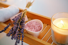 Spiritual Aura Cleansing Ritual Bath For Full Moon Ritual. Candles, Aroma Salt And Lavender On Tub Table, Close Up