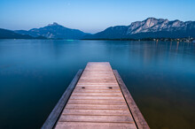 Wooden Jetty At Lake Mondsee Near Salzburg During Blue Hour