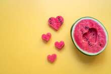 Heart Shaped Watermelon Isolated On Yellow Background