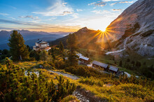 Sunrise Above King's House On Schachen From King Ludwig II And Alpine Hut Schachenhaus With Warm Atmosphere