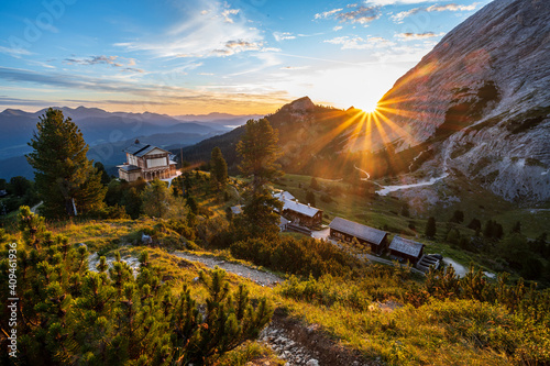 Fototapeta Sunrise above king's house on Schachen from king Ludwig II and alpine hut Schach