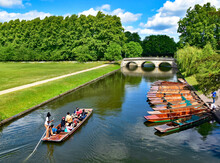 Punts On The River Cam At Cambridge, England