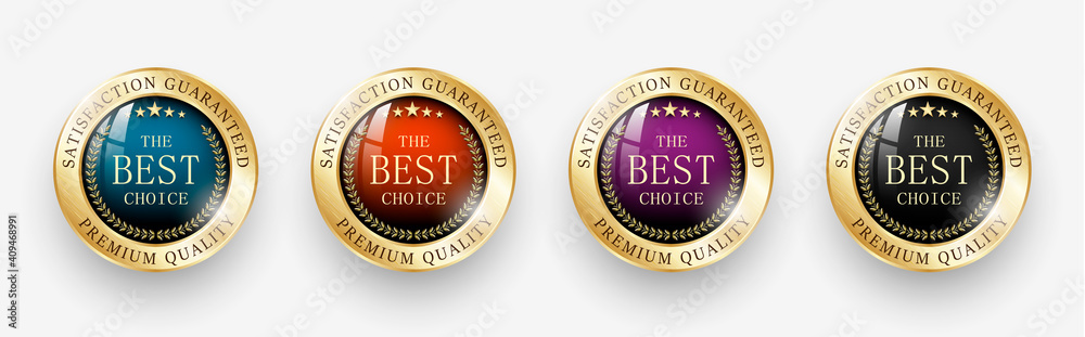 Fototapeta Premium quality / Best choice medals set. Realistic golden labels - badges, best choice. Realistic icons isolated on transparent background. Vector illustration EPS10