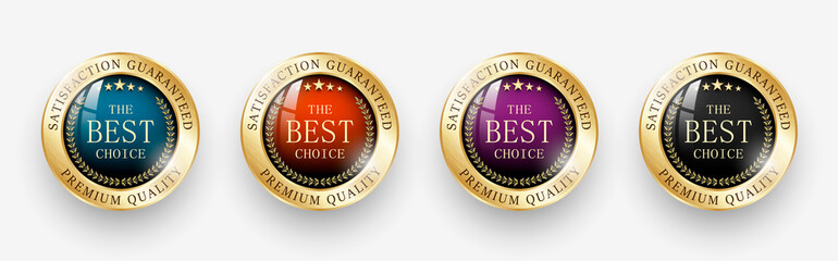Premium quality / Best choice medals set. Realistic golden labels - badges, best choice. Realistic icons isolated on transparent background. Vector illustration EPS10