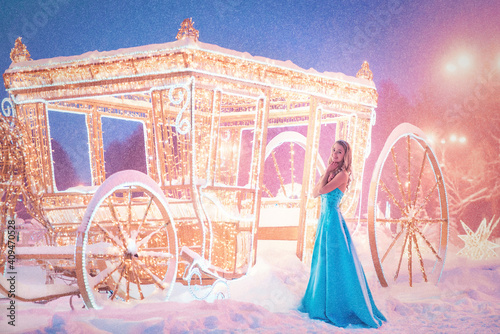 Cinderella near carriage going to dance. Anticipation Fototapet