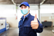 Thumbs Up, Covid Coronavirus Mask In Industrial Facility