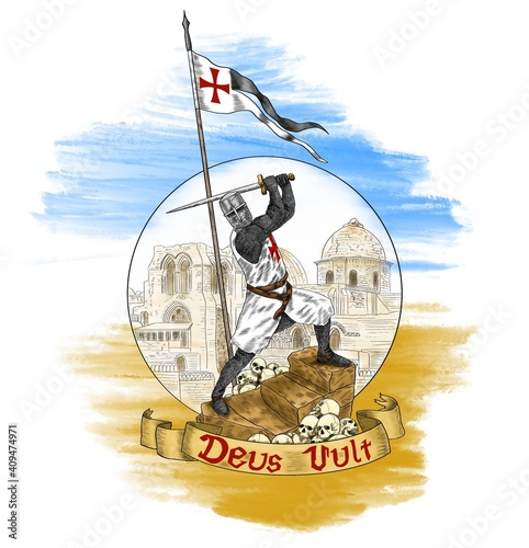 Fototapeta The brave knight Templar defends Jerusalem