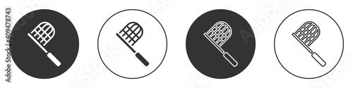 Black Butterfly net icon isolated on white background. Circle button. Vector. - fototapety na wymiar
