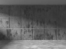 Dark Concrete Wall Architecture. Empty Room