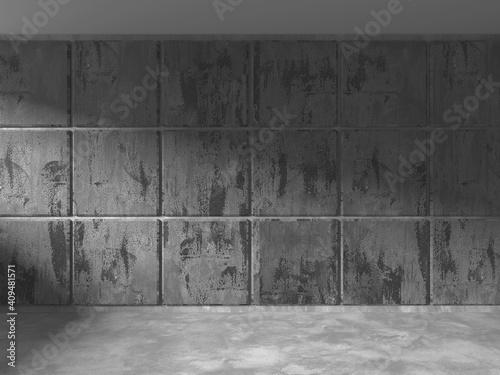 Valokuva Dark Concrete Wall Architecture. Empty Room