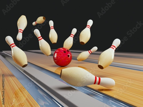 Photographie bowling strike. Skittles and bowling ball on the track