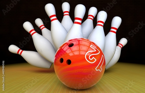 bowling strike. Skittles and bowling ball on the track Fototapeta