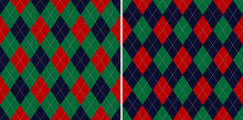 Argyle Pattern Designs In Red, Green, Blue. Traditional Geometric Stitched Dark Colorful Christmas Vector For Gift Wrapping, Socks, Sweater, Jumper, Or Other Modern Winter Fashion Textile Print.