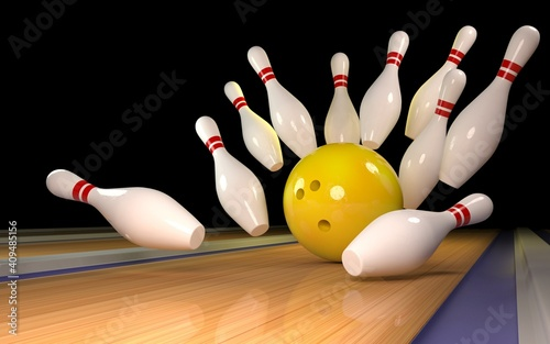 bowling strike. Skittles and bowling ball on the track Poster Mural XXL