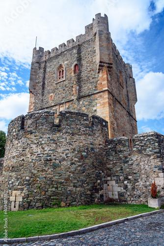 Tower of Braganca Castle. Braganca Medieval Castle. View of the tower of the Castle of Braganca, a medieval fort, located in the historic centre of Braganca, Portugal © marinzolich