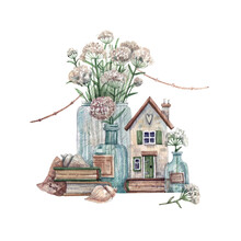 Rural House With Seashells, Flowers In Bottles And Books - Hand-drawn Watercolor Illustration. Illustration In Vintage Style Isolated On A White Background For Cards, Decor, Souvenirs.