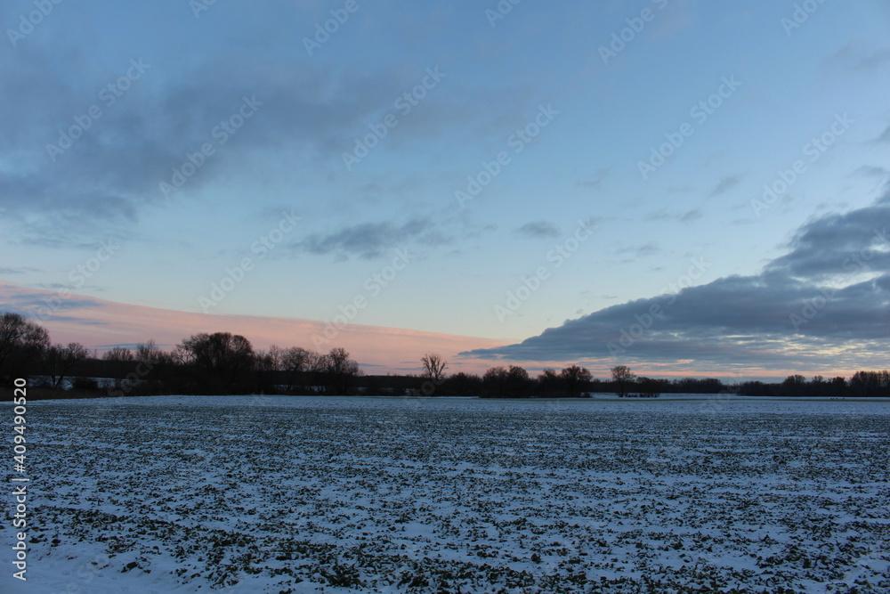Fototapeta Piękny zimowy zachód słońca