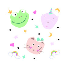 Set Of Cute Animals - Pink Unicorn, Beige Cat And Green Frog On A White Background With Stars, Moon, Hearts And Rainbow. Can Be Used For Children's Parties, Brochures. Vector Illustration