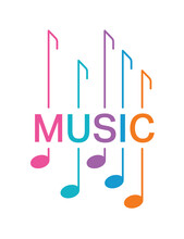Music And Musical Notes. Music Concept On White Background