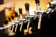 Row Of Taps In A Beer Tap.