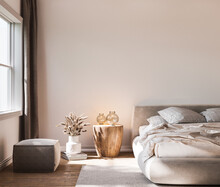 Home Interior Background, Cozy White Bedroom With Bright Furniture Natural Wooden Tables, Modern Style, 3d Render