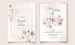 Floral wedding invitation template set with elegant leaves Premium Vector